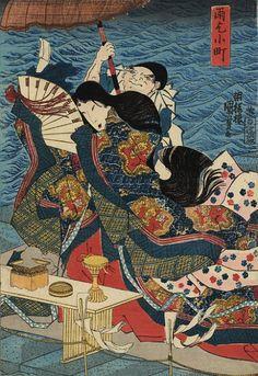 Ono no Komachi praying for rain (雨乞小町), Kuniyoshi.