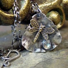 Dragonfly Pendant in Sterling silver with choice of stone   ....from LavenderCottage on Etsy