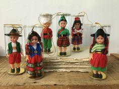 Vintage Nationality Ethnic Doll Ornaments Sleepy Eyes w/Box