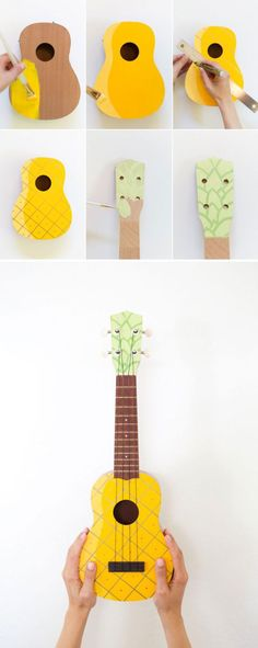 Diy Crafts Ideas : #diy painted pineapple #ukulele #DIY #crafts #handmade
