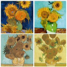 Mystery of Van Gogh's Sunflowers Unearthed (series of 4 paintings) * Three Sunflowers – Vincent Van Gogh, Aug 1888. Private Collection.  * Six Sunflowers  – Vincent Van Gogh, Aug 1888. destroyed by fire during WWII. * Fourteen Sunflowers – Vincent Van Gogh, Aug 1888. Neue Pinakothek, Munich Germany * Fifteen Sunflowers – Vincent Van Gogh, Aug 1888. National Gallery, London UK #vangogh