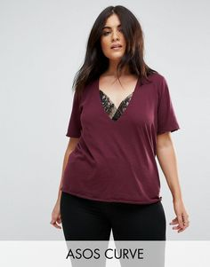 Browse online for the newest ASOS CURVE T-Shirt with High Neck Ravage Plunge With Lace Insert in Wash styles. Shop easier with ASOS' multiple payments and return options (Ts&Cs apply). Shirt Jacket, T Shirt, Asos Curve, Pretty Outfits, Pretty Clothes, Lace Insert, Shirt Style, Fashion Online, Plus Size
