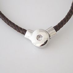 """1 Brown Leather Necklace - 20"""" FITS 18MM Candy Snap Charm Jewelry Silver kb3395 CJ0158"""