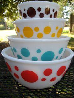 Vintage Hazel Atlas Polka Dot Mixing Bowls by ssmith7157 on Etsy, $150.00