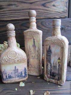 """Купить Бутылки """"Старая Прага"""" - бежевый, Прага, Декоративная бутылка, бутылка старинная, Декупаж"""