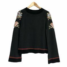 Per Una Floral Embroidered Folk Style Jumper Chenille Trim Size 14 Boho Scandi Folk Style, Folk Fashion, Boho, Long Dresses, Knits, Size 14, Jumper, Pullover, Knitting