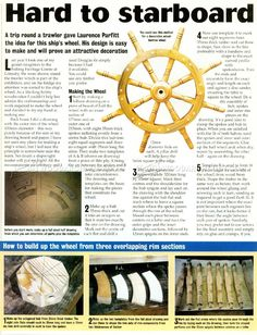 Ship Wheel Plans and Projects - Woodworking, Woodworking Plans, Woodworking Projects Woodworking Power Tools, Woodworking For Kids, Woodworking Supplies, Woodworking Shop, Woodworking Plans, Woodworking Projects, Model Ship Building, Boat Building, Highland Woodworking