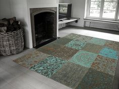 Vintage - Sea Blue Free UK delivery on all Louis de Poortere rugs. Vintage collection - distressed designs in a patchwork style - perfect large rugs for living rooms or bedrooms. Hotel Carpet, Rugs On Carpet, Tapetes Vintage, Square Rugs, Square Feet, Patchwork Rugs, Patchwork Designs, Cool Rugs, Stairway