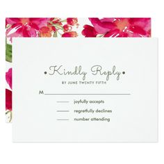 Romantic Watercolor Flower Painting Design Personalized Wedding Response   RSVP Cards. Matching Wedding Invitations, Bridal Shower Invitations, Save the Date Cards, Wedding Postage Stamps, Bridesmaid To Be Request Cards, Thank You Cards and other Wedding Stationery and Wedding Gift Products available in the Floral Design Category of the Best Day Ever store at zazzle.com