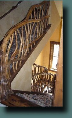 RUSTIC INDOOR HANDRAIL AND ACCENTS - SECORA'S DEADWOOD CREATIONS