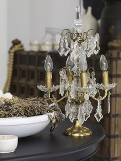 Antique French Four Light Girandoles (Table Chandeliers)