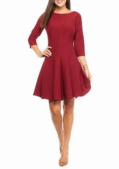 Julian Taylor Textured Knit Fit and Flare Dress