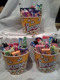Family Movie Night Gift Basket from Connie's Creations - Movie Night Gift Bucket – Thumbnail 3 - Sleepover Food, Fun Sleepover Ideas, Girls Sleepover Party, Movie Night Gift Basket, Raffle Baskets, Fundraiser Baskets, Diy Gifts For Boyfriend, Gift Baskets For Boyfriend, Craft Gifts