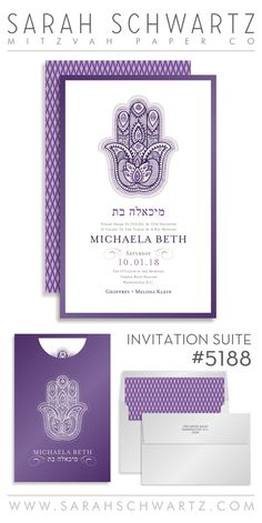 Purple Hamsa Bat Mitzvah invitation suite with a diamond pattern