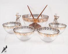 PA USA 1950/'s 2 Cruets Salt /& Pepper Salad Set With Bowl Hazel Atlas Glass Co