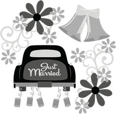 Just Married SVG wedding svg file flower svg file wedding clipart cute clipart