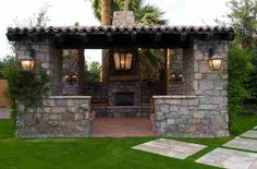 Outdoor Living Room-Stone Fireplace with Pergola.  Love it!