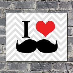 I Love Mustaches Gray Chevron Printable 8x10 Landscape Print home decor, Moustache Print, Printable Mustache Love Party Decor 42 colors. $5.00, via Etsy.