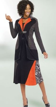 Orange and Zebra Accented 2 Piece Women's Suit Jacket and Skirt Set