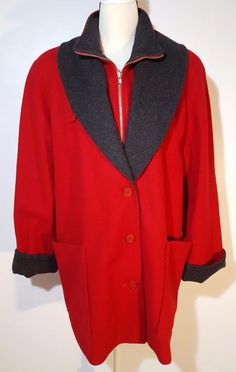 """Excellent condition! No stains, tears or fading! Bottom hem circumference: 50"""". 100% wool, very soft with lining, the lining is in excellent shape. Red with black trim, lining is red. Shoulder to shoulder: 19"""". 