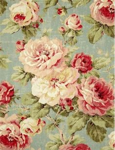 "Queen Summer Floral 100% cotton duck, washed with weathered shabby chic look. Multi purpose home décor fabric for light use upholstery, slipcovers, drapery fabric, pillow covers, swags or top of the bed. Repeat; H 27"" x V 35"". 54"" wide"
