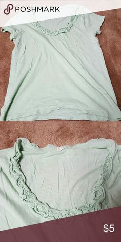 J.crew ruffle neck t-shirt mint green large J.crew ruffle neck t-shirt mint green large J.Crew Factory Tops Tees - Short Sleeve