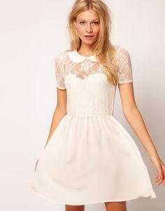 ASOS | ASOS Lace Shirt Dress With Peterpan Collar at ASOS