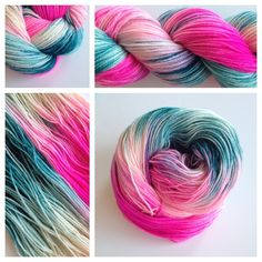 Kiss Me. Valentine conversation hearts! <3 Color(s): bright pink, teal and cream (I use only professional grade dyes) Fiber(s): 100% superwash merino woolWeight: fingering Length/yardage: 4 oz skeins /- 330 yardsGauge: 7 sts/in, US 0-3 needleCare instructions: machine washable, lay flat to dryWhy buy hand dyed yarn vs craft store yarn