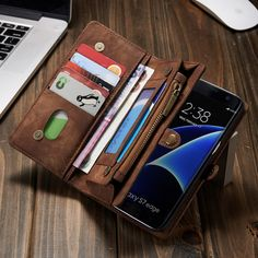 [Visit to Buy] #Advertisement For Samsung s 7 edge multi-function phone case set for the Galaxy s7 edge anti-lost phone case wallet bracket mobile phone bag