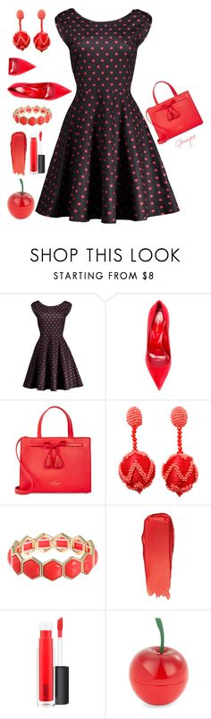 """""""Red Accent"""" by gemique ❤ liked on Polyvore featuring Sergio Rossi, Kate Spade, Oscar de la Renta, Liz Claiborne, Bobbi Brown Cosmetics, MAC Cosmetics and Tony Moly"""
