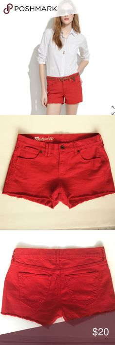 """Madewell Red Denim Cut Off Shorts - Sz. 25 TheseMadewell Red Denim Cut Off Shorts are previously owned in Excellent Used Condition. Measurements: (Laying Flat) Size: 25 Waist: 14.5"""" Inseam: 2"""" Outseam: 10"""".          Material: 99% Cotton, 1 % Spandex Madewell Shorts Jean Shorts"""