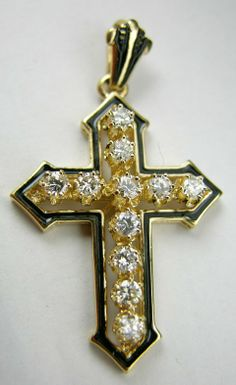 14K Yellow Gold and Enamel Cross, mounted with approximately .8cts of round diamonds