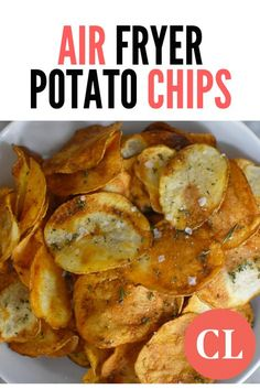 Crispy, crunchy, and addictive, air fryer potato chips have 60 percent less fat than their store-bought counterparts. Yes, making potato chips in your air fryer requires a little bit of effort—but the Air Fryer Potato Chips, Air Fryer Recipes Potatoes, Air Fryer Oven Recipes, Air Frier Recipes, Air Fryer Dinner Recipes, Potato Recipes, Air Fryer Chips, Chicken Recipes, Oven Potato Chips