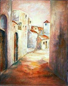 Peinture d'Algérie - Peintre Algerienne, Farida BENMAHMOUD,( Née en 1946 à Constantine), Huile sur satin, Titre : Ancienne Ruelle de Constantine.