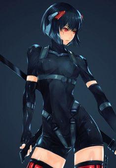 A sexy warrior in her black night suit Cool Anime Girl, Anime Sexy, Anime Art Girl, Anime Girls, Art Manga, Manga Girl, Female Character Design, Character Art, Fan Art Anime