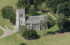 Aerial view of St Mary's Church in the grounds of Ickworth House - Suffolk UK