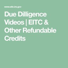 Due Dilligence Videos Accounting Services, Tax Credits, Income Tax, Videos, Video Clip