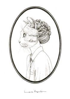 MISS CATMOND. Reproducción digital firmada y seriada de #lauraagusti. Medidas: 21x29,5 cm. 20€ #print #ilustration #ilustracion #dibujo #drawing #Art #Barcelona