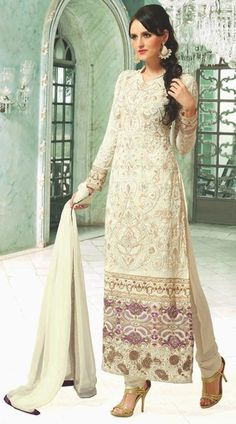$117.49 Off White Faux Georgette Embroidered Pakistani Salwar Suit 23473