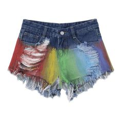 Spray Painting Ripped Frayed Hem Denim Shorts ($22) ❤ liked on Polyvore featuring shorts, short jean shorts, ripped shorts, denim shorts, distressed shorts and destroyed shorts
