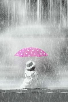 black & white photos with selective coloring | selective color, pink umbrella, dress, black and white, dots, digital,