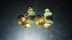 Gold plated wire cufflinks with rose quartz, aventurine and amethyst. I made these for a groom for his wedding ! https://m.facebook.com/LaceOfHeartsJewellery