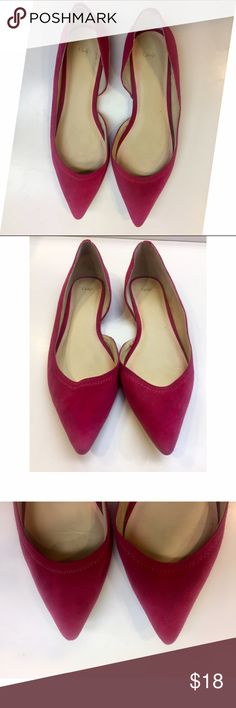 Hot Pink Flats These pointy toe flats are adorable. Wear them with jeans or a dress! Very comfy and classy. Minimal signs of wear and tear on the suede visible in photos. GAP Shoes Flats & Loafers