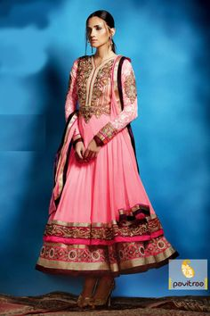 Pavitraa Melodic Flurosent Pink Embroidered Salwar Suit more..