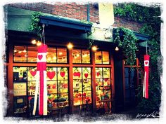 'Perennial Tea Room. Seattle, Washington.' ........ ADORABLE valentine window hearts ...... this is near Pike's Place Market