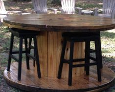 Wire Spool Table with Benches by TheHollowFurnitureCo on Etsy