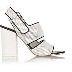 Alexander Wang Sara mesh-effect leather sandals (390 AUD) ❤ liked on Polyvore featuring shoes, sandals, heels, white, wide sandals, white leather shoes, white ankle strap sandals, white shoes and wide heel sandals