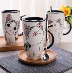 A cartoon cat mugs the cutest gift ever