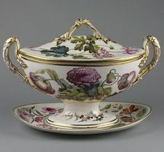 Soup tureen, cover and stand ca. 1796 Artist/Maker:Pegg (perhaps, decorated by) Billingsley, William, born 1758 - died 1828 Derby Porcelain factory (manufacturer). Antique China, Vintage China, Royal Albert, Kings Table, Royal Crown Derby, Fine Porcelain, Porcelain Ceramics, Victoria And Albert Museum, Fine China