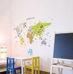 Monde carte murale Sticker Decal / mappemonde par DubuDumo sur Etsy